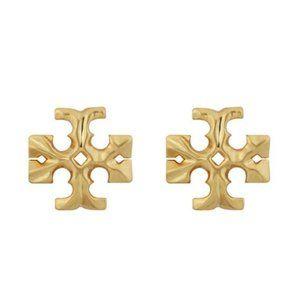 Tory burch large gold logo earrings